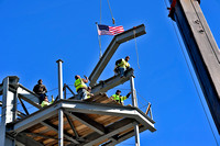 Steelworkers bring last big piece of Jumbotron with flag, Wrigley Field 3/28/15